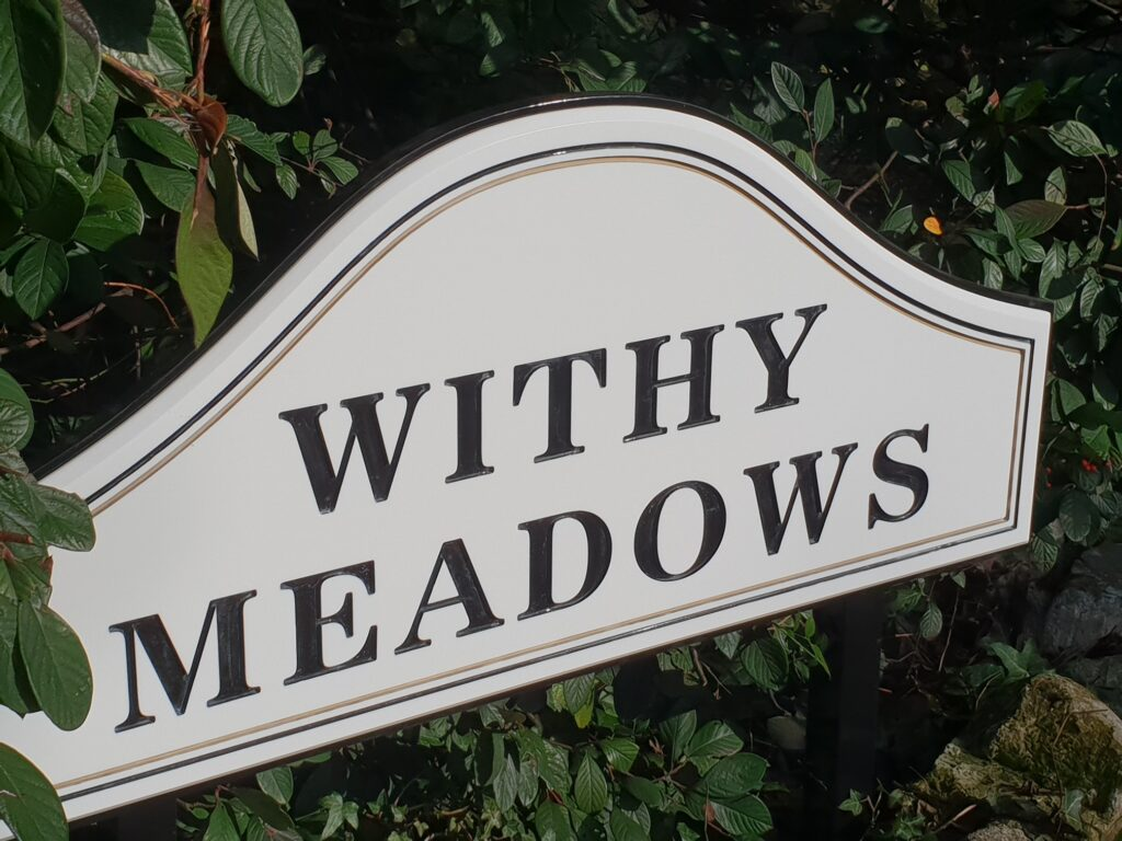 Withy Meadows name plate sign
