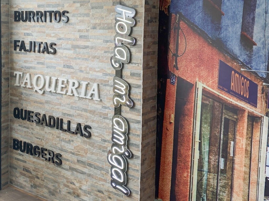 Amigos, Portsmouth - 3D wall text and neons
