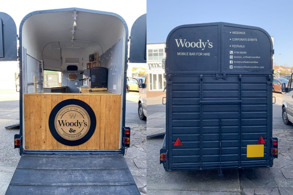 Woody's Coffee Box & Bar - Trailers signs and graphics - rear