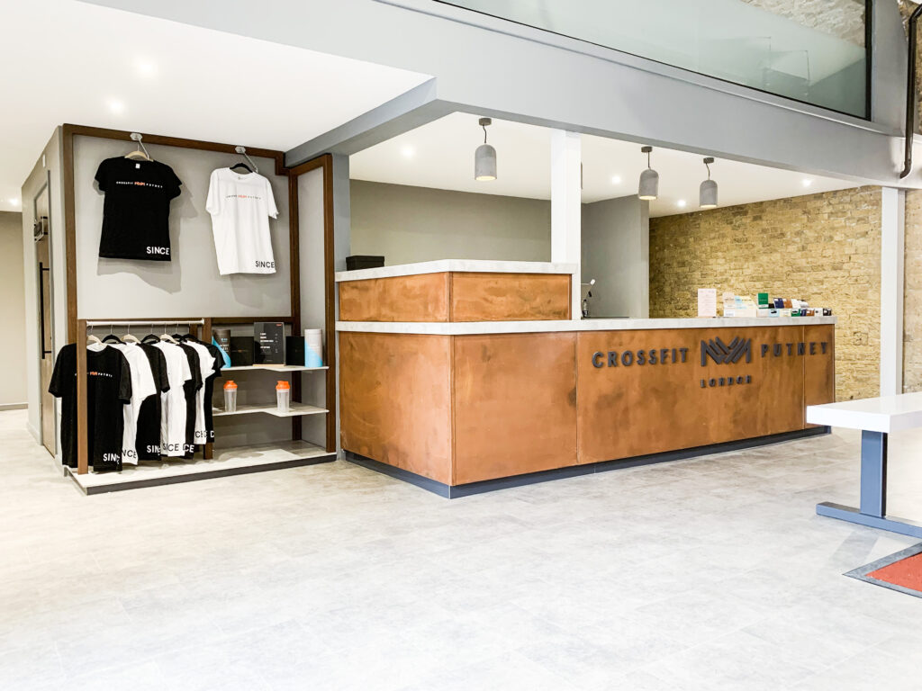 Counter with logo on the front at Crossfit Putney