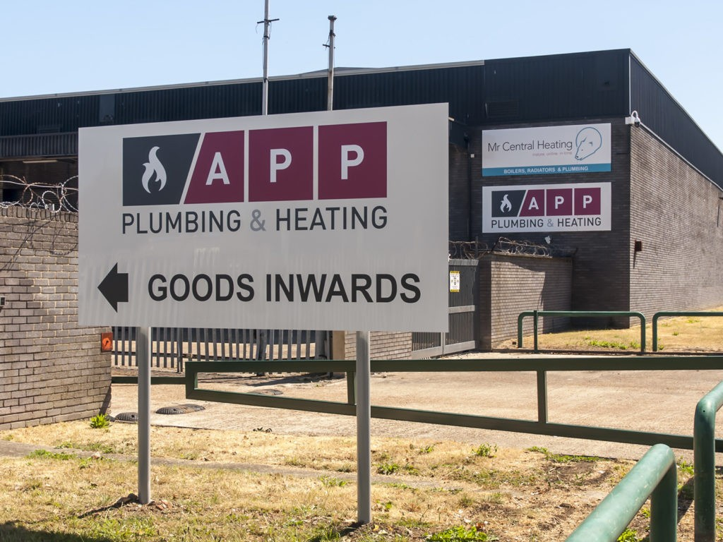 Goods inwards post sign and aluminium composite building signs at Mr Central Heating, Erith