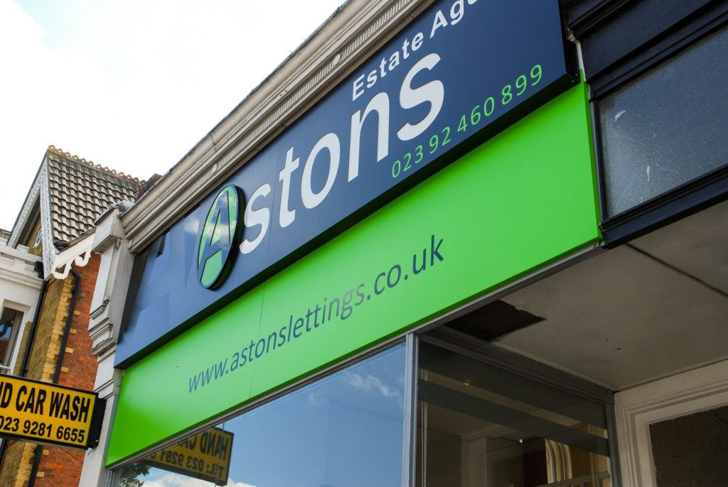 Backlit aluminium composite fascia signs at Astons Estate Agents - Portsmouth