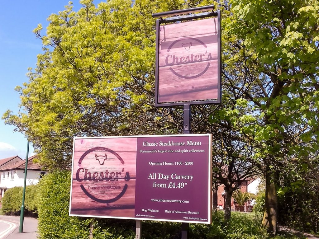 Digitally printed signs at Chesters, Portsmouth