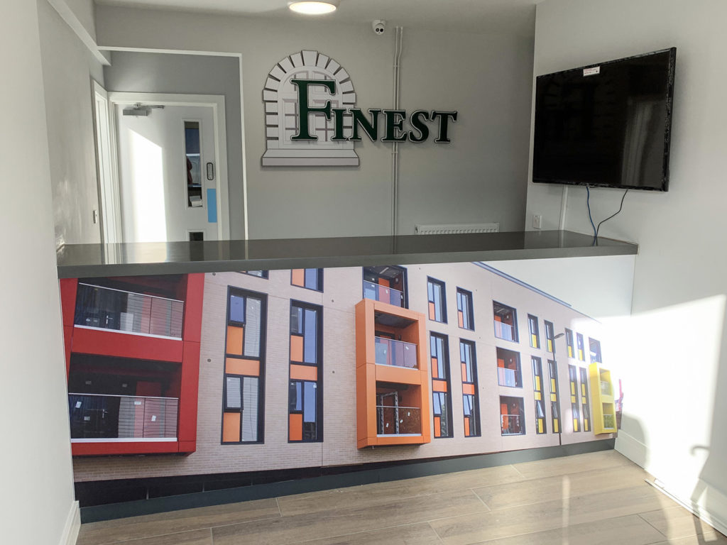 Finest Group internal wall sign and counter