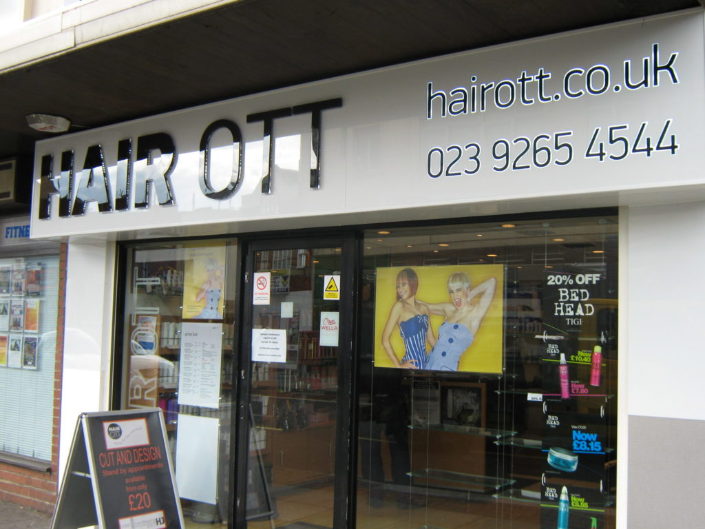 Backlit aluminium composite fascia sign with acrylic letters at Hair OTT - North End