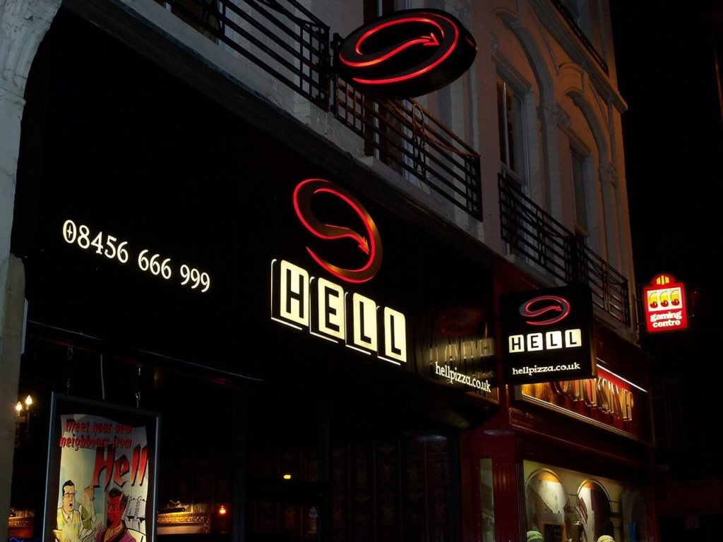 Aluminium fascia sign and projecting signs for Hell Pizza, Fulham