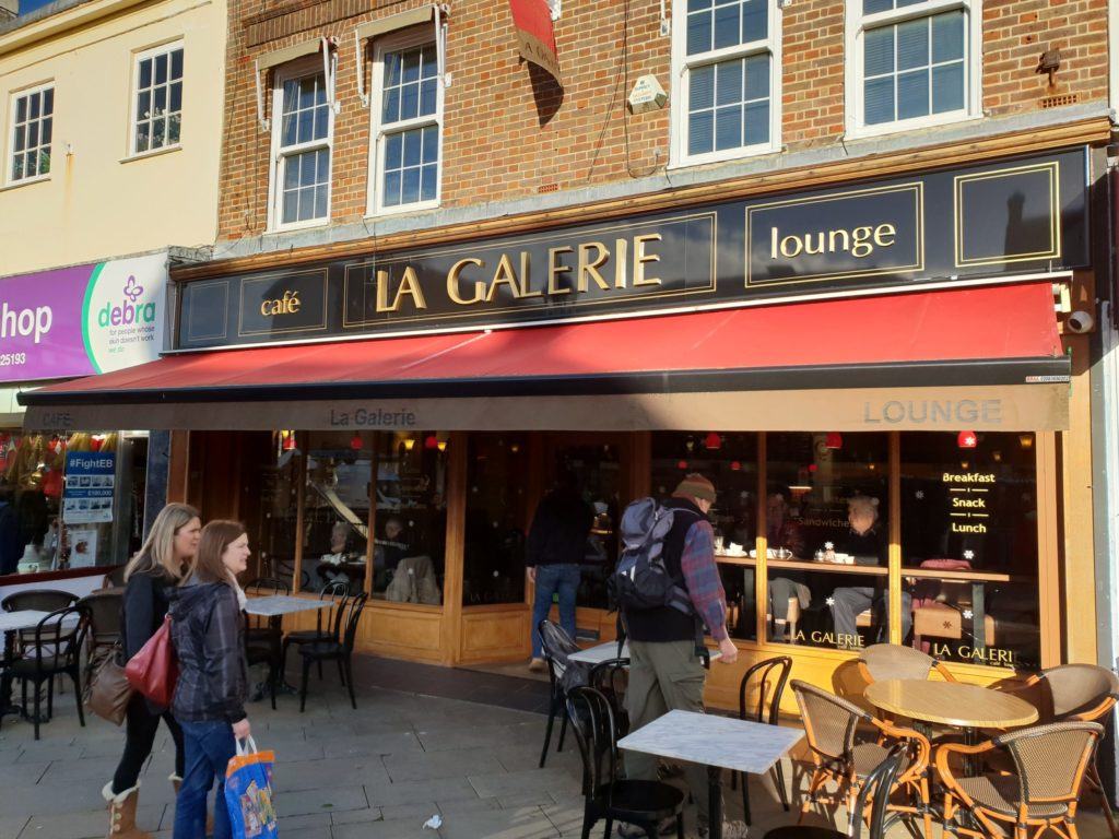 Aluminium composite fascia sign and electric canopy at La Gallerie - Fareham