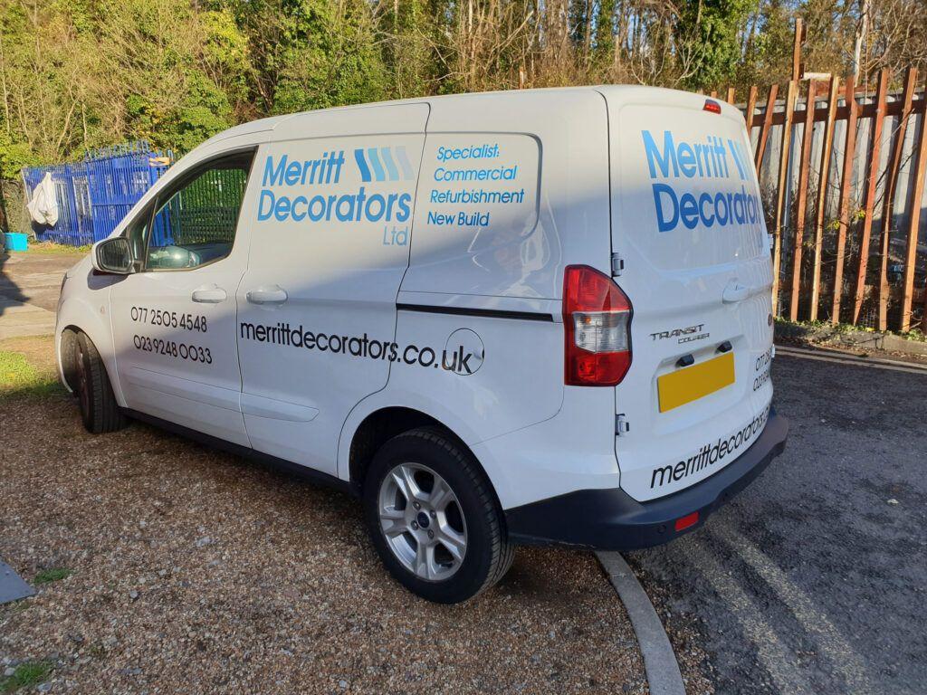Cut vinyl vehicle graphics for Merritt Decorators