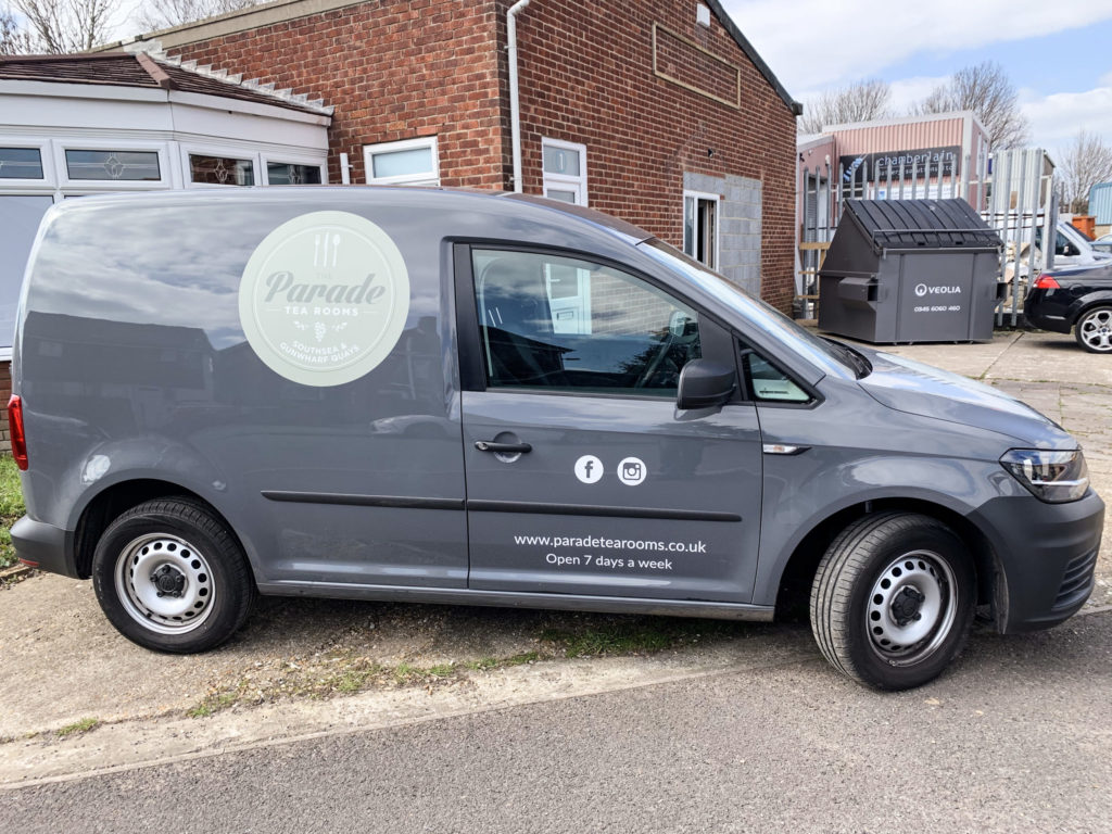 Digitally printed and cut vinyl graphics for The Parade Tea Rooms' delivery van