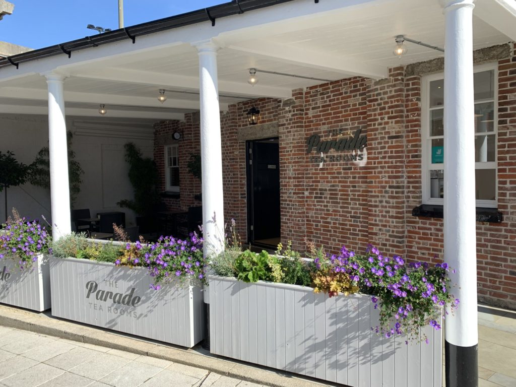Digitally printed planter logos and floating foam logo on the wall at The Parade Tea Rooms - Gunwharf Quays - Portsmouth