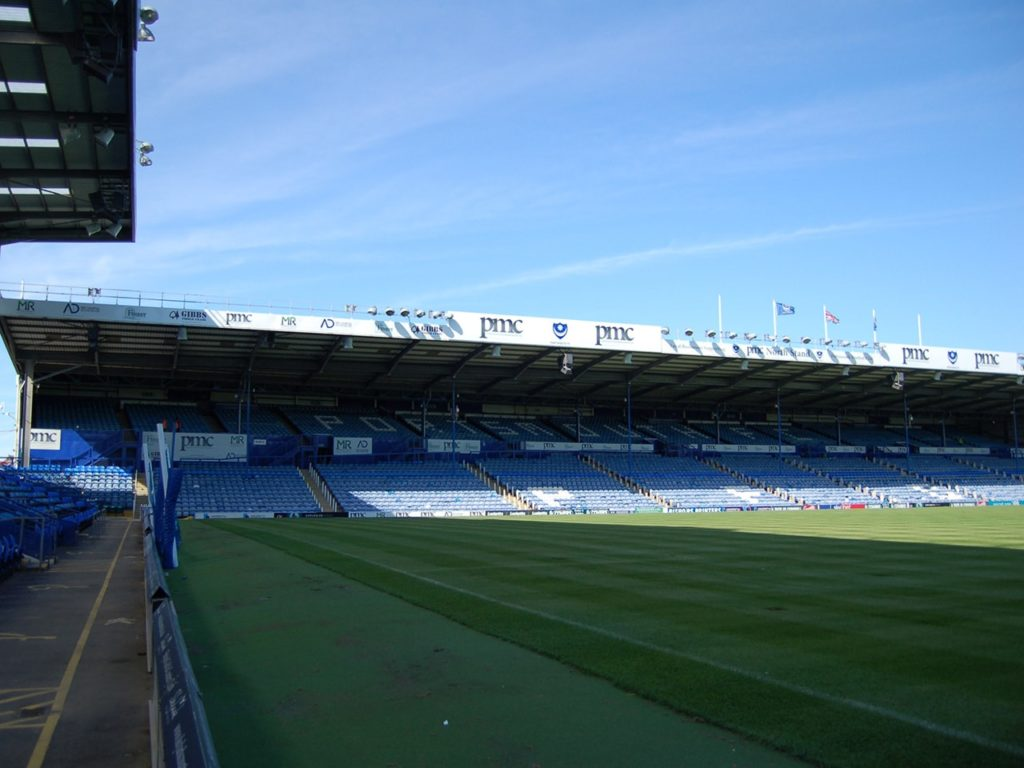 Aluminium composite signs with digitally printed graphics at Portsmouth Football Club's North Stand