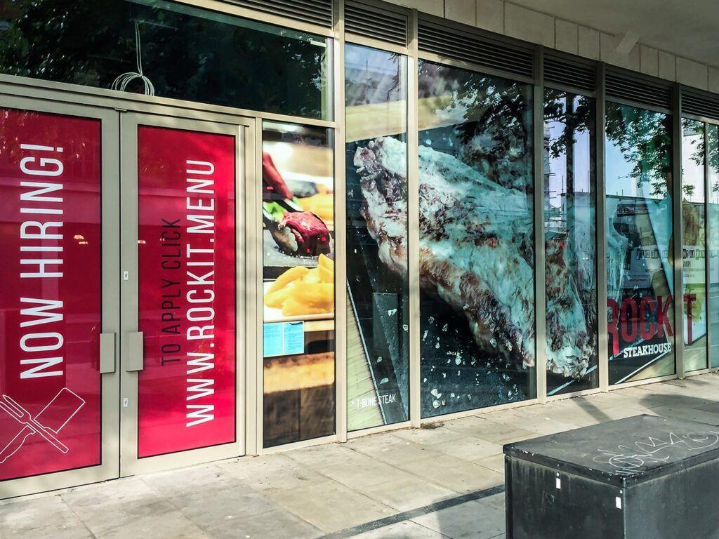 Window graphics at RockIT Steakhouse in Whitechapel, London