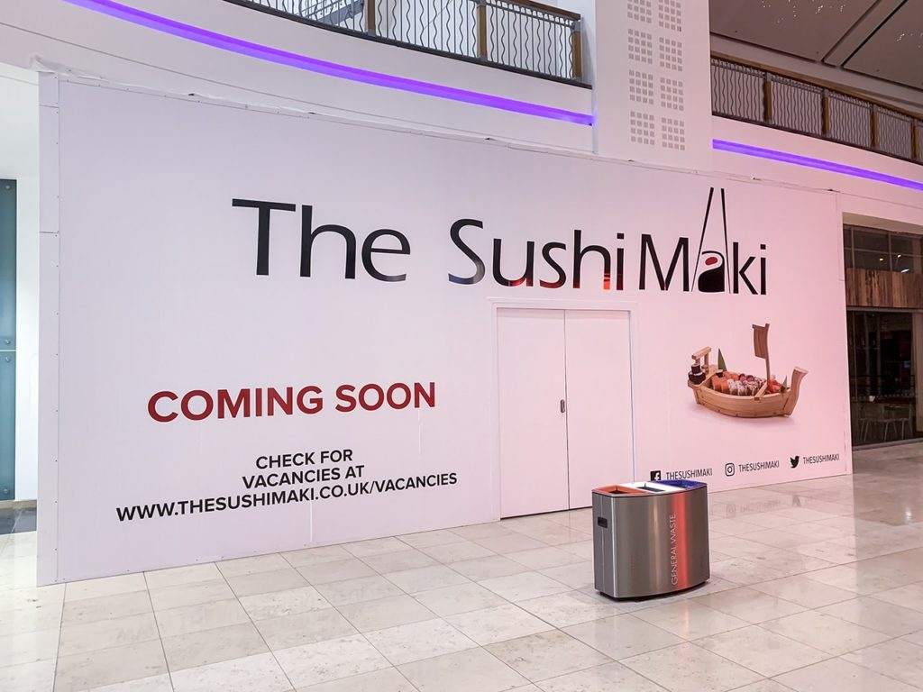Cut vinyl and digitally printed graphics fitted to hoarding panels for The Sushi Maki, Basingstoke
