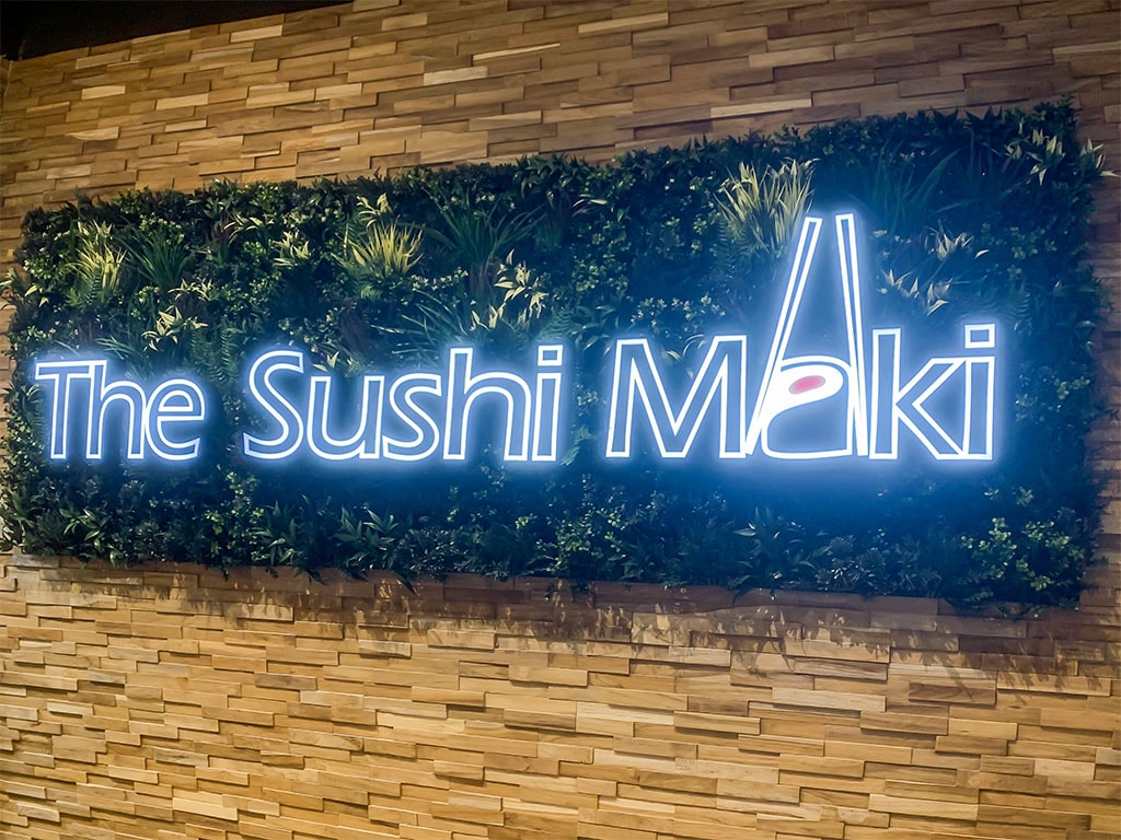 Internally illuminated letters fitted to a fireproof foliage background at The Sushi Maki, Basingstoke