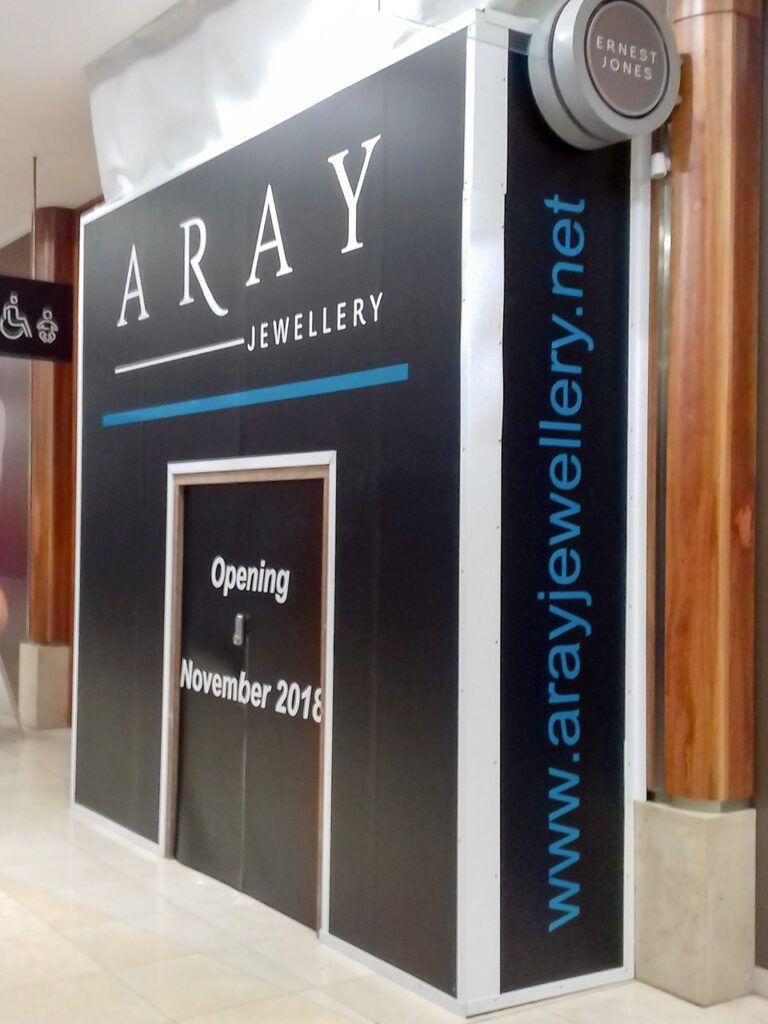 Hoarding graphics at Aray Jewellery, Basingstoke