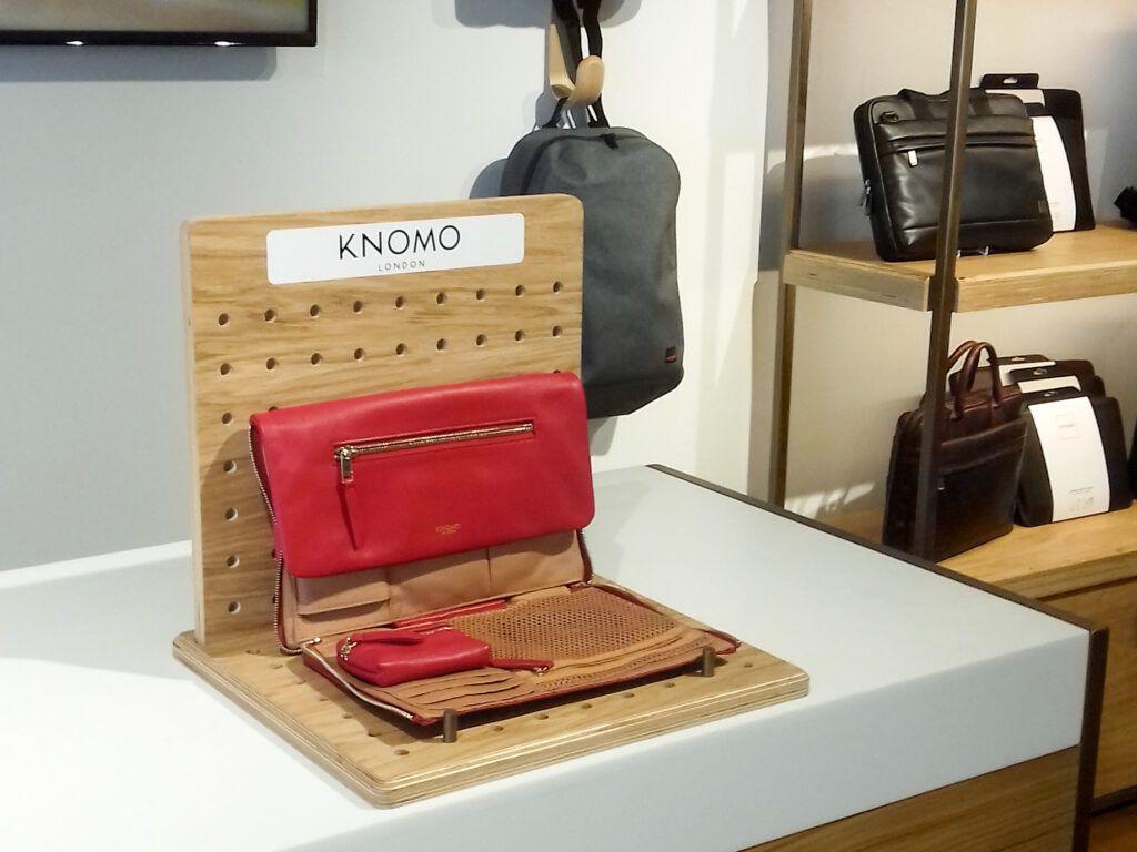 Bespoke bag display stand at Knomo