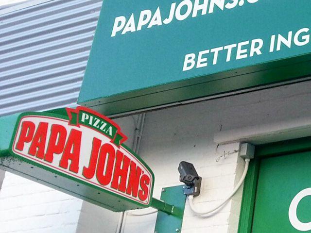 Internally illuminated projecting sign for Papa John's Pizza, Andover