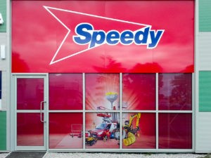 One way vision window graphics at Speedy, Stevenage