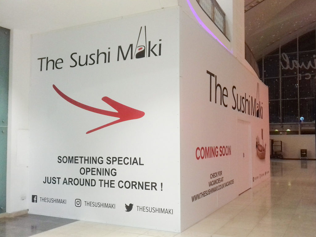 The completed graphics on the left and front of the hoarding at The Sushi Maki, Basingstoke